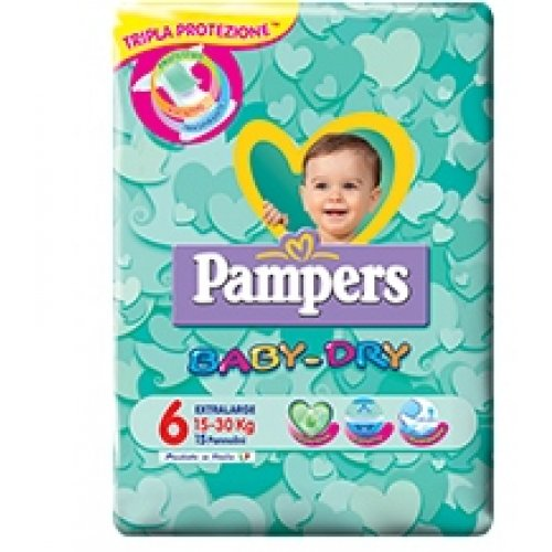 PAMPERS BABY DRY DOWNCOUNT XL 15 PEZZI